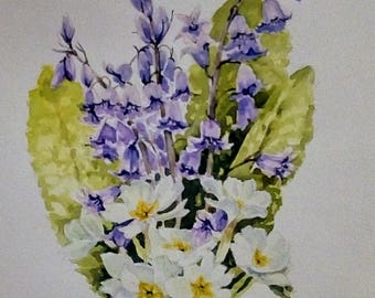 Mothers Day,Spring flowers, flower painting, original watercolour, Large painting, 16 x 12 cream mount. gift ideas, floral art, afforable.