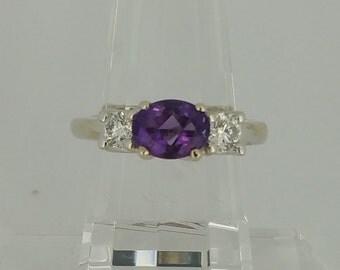 14KT White Gold .52ctw Amethyst Ring