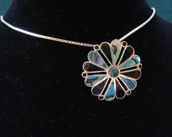 Silver, Onyx, Shell Flower Necklace - It's a Brooch and Pendant- Abalone Accent- Taxco Jewelry- Two-for-One – Long Necklaces- Signed Jewelry