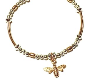 Rose gold and sterling silver bee bracelet, rose gold stacking bracelet, bumblebee charm, stretch bracelet, bead jewellery, friendship gift