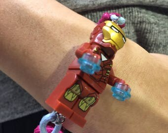 lego knot bracelet, superhero charm wristband, party favors, gift for anniversary