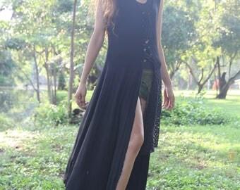 Goth Fairy Pixie Dress, Gypsy Boho Black Dress, Goa Trance Clothing, Tribal Clothing, Faerie Fantasy Costume Dress. Pagan Dress