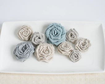 Pastel fabric flowers, burlap flowers set of 9, fabric rosettes, linen flowers, burlap wedding decor, DIY rustic flowers, flowers for crafts