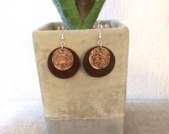 Stamped Metal and Leather Circle Earrings