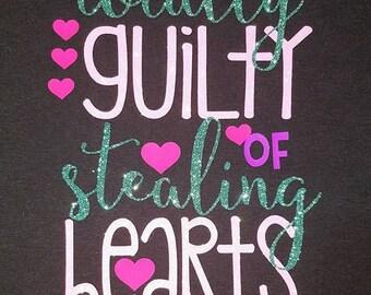 Girls Valentine shirt, with glitter & regular vinyl  4T  small 5-6