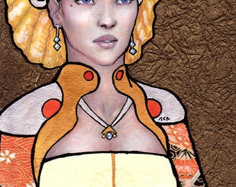 "Mixed media scifi collage concept art - beautiful richly dressed blonde woman - 5"" x 7"" - fine papers, gouache, prismacolor colored pencils"