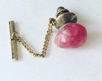 Vintage Agate Pink Stone Tie Tack