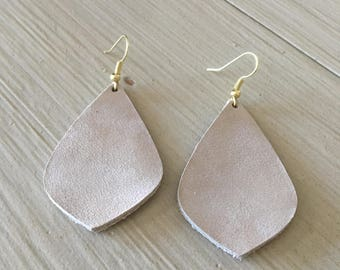 Taupe leather earrings/lightweight statement earrings