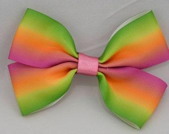 Rainbow Print Hair Bow