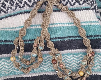 2 Tiered Beaded Thick Hemp Necklace