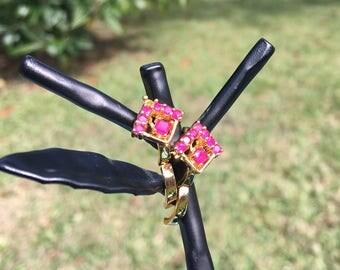 Diamond Ruby Earrings - 22k Gold Plated