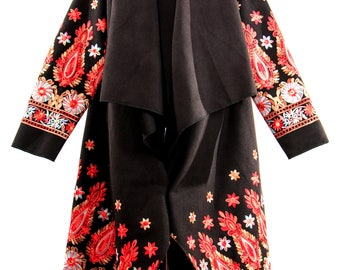 Spring and autumn maxi coat, embroidered coat, long cardigan, loose winter coat, long extravagant coat, embroidery flower