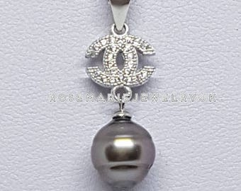Sterling Silver Circled Tahitian Pearl Necklace