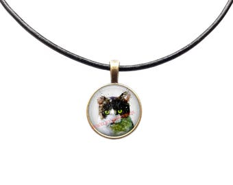 Cat jewelry Pet necklace Animal pendant Watercolor charm