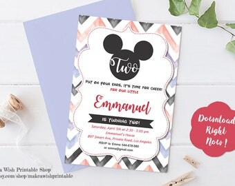 Mickey 2nd Birthday Invitation, Mickey Mouse Invitation Digital Printable, Mickey Second Birthday Boy, Twodles Invitation Edit, DIY Template