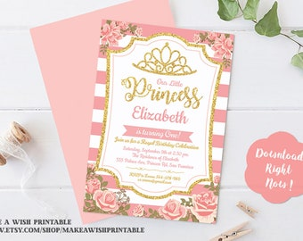 Pink and Gold Princess Birthday Invitation, Little Princess Birthday Invitation, Girls Birthday Invitations, Birthday Invite, Kids Invite