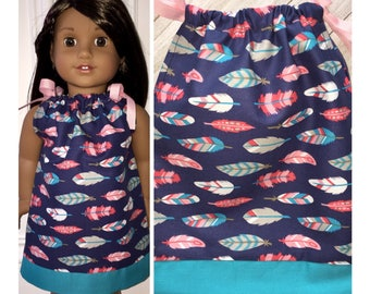 "18"" Doll Clothes/Doll Pillowcase Dress/American Girl Dress/Dreamcatcher Feathers"