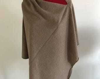 100% Pure Cashmere Boatneck Poncho in Mink