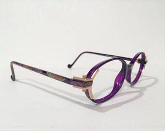 Vintage 80's Silhouette M 1799 C 2784 Purple Oval Modernist Ladies Glasses Frames, Multicolor Design Arms, Unique Design, Made in Austria