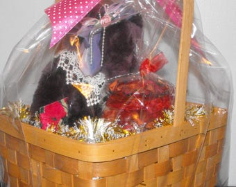 Wooden Rectangular Mother's Day Gift Basket with Pink Polka-Dotted Bow