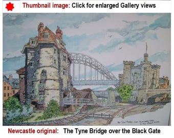 Newcastle Tyne Bridge, original watercolour painting,  Newcastle Black Gate,  Tyneside,  ArtsArchitectural, etsy TyneArt
