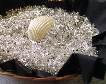 Size 3 Czech Bugle Beads, Silver Lined Crystal, 250 grams (Quarter Kilo)