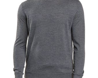 Men's turtleneck sweater mixed Cashmere pullover Made in Italy-light grey-blue-grey-M-L-XL-XXL