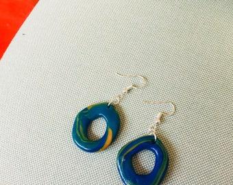 Multi colour glazed donut flat dangle earrings