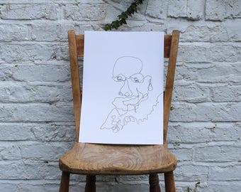 A3 Continuous Line in Pen - Portrait Face 1/1