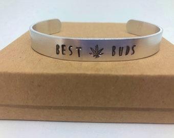 Best Buds with Pot Leaf Cuffed Bracelet