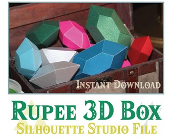Zelda Theme Party - Rupee 3D Box Silhouette cut file! Zelda majora's Mask Theme Party.