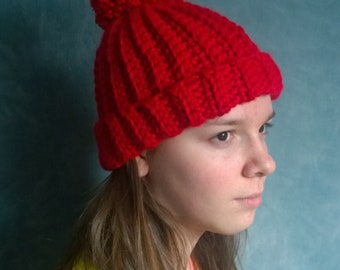 red pompom hat
