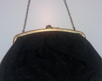 1940s small black evening bag
