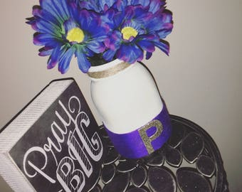 Purple & white Mason Jar Centerpiece, home decor