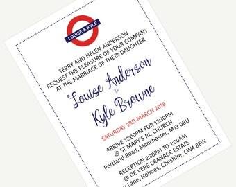 "Wedding Invite/evening (5""x7"") - London Underground theme"