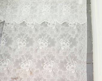 "Massive White Lace Curtain. Large Vintage White Lace Window Curtain. White Lace Sheer Curtain. Vintage Lace Curtain. 70"" x 70""."