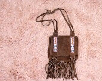 vintage suede fringe purse with seed bead arrows . 60s 70s hippie purse, festival shoulder bag