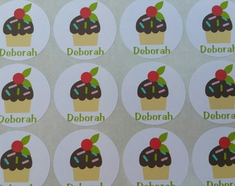 Personalized Chocolate Iced Cupcake Stickers for Back to School, Name labels, cards, etc set of 20