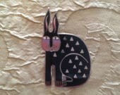 Rabbit For Ross Brooch Laurel Burch Pin Cloisonné Art Jewelry Vintage Piece Signed