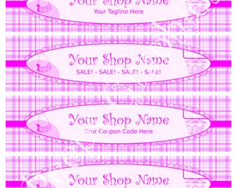 Shop Banner Set - 4 Fashion Plaid Banners