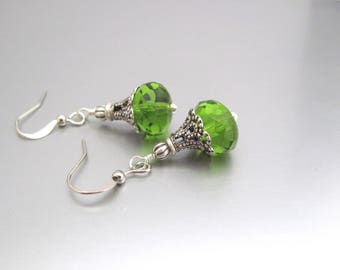 Green Beaded Earrrings Antiqued Silver Plated Brass, Vintage Design Neo Victorian, Faceted Glass Jewelry, Summer Outdoors, Summer Jewelry