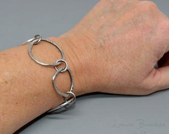 Sterling Silver Links Bracelet With Decorative Carved Lines