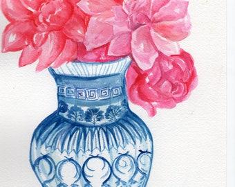 Original Peony watercolor painting  original,  peonies in blue and white vase, peony wall art,  watercolor flowers peonies painting floral