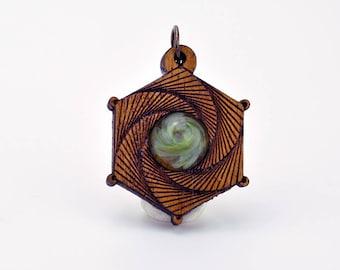 Golden Ratio Camera Shutter Mahogany and Blown Glass Laser Cut Pendant, meditation, sacred geometry