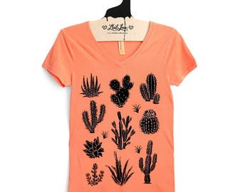 SALE Fitted XL-  Vintage Dye Orange V-Neck Tee with Cactus Screen Print-