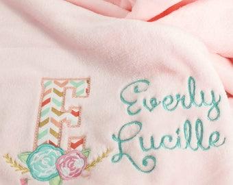 Personalized Baby Blanket, Baby Girl Blanket, Minky Baby Blanket, Baby Shower Gift, Flowers Baby Blanket
