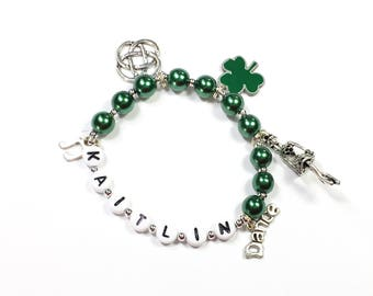 Irish Dance Charm Bracelet. Personalized Name Bracelet Jewelry for a Irish step dancer Gift for Celtic Dance Clogging YOU CHOOSE pearl color