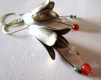 Rainbow Moonstone Carnelian Chrome Diopside Belle Fleur Earrings - Brass - Etsy - Jewelry - Rustic - Flower - catROCKS - Stamen - Orange