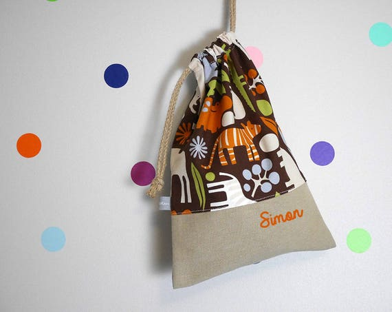 Customizable drawstring pouch - cuddly toy bag - name - kids - animals - elephants - brown - blue - kindergarden - slippers or toys bag