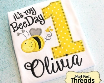 CUSTOM ORDER It's My Bee Day Bumble Bee Yellow and Black First Birthday Personalized Embroidered Applique Tshirt or Bodysuit